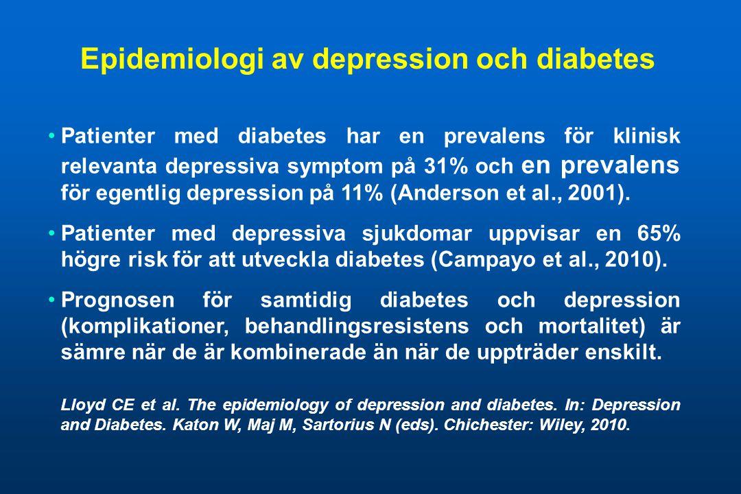 Epidemiologi av depression och diabetes •Patienter med diabetes har en prevalens för klinisk relevanta depressiva symptom på 31% och en prevalens för