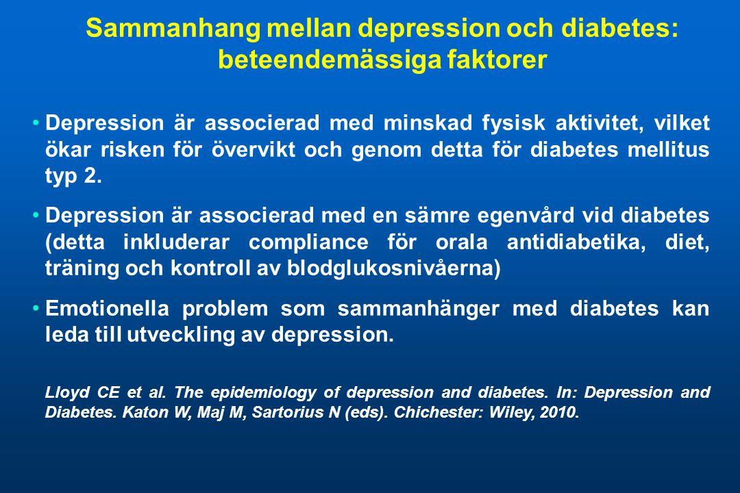 Sammanhang mellan depression och diabetes: beteendemässiga faktorer •Depression är associerad med minskad fysisk aktivitet, vilket ökar risken för öve