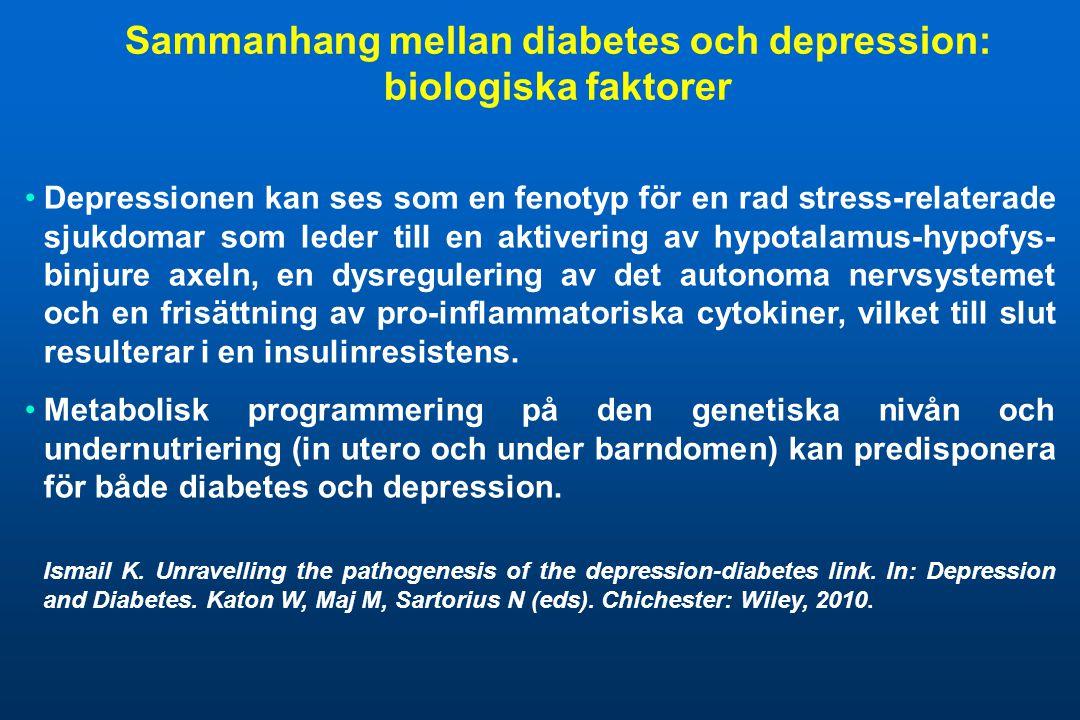 Sammanhang mellan diabetes och depression: biologiska faktorer •Depressionen kan ses som en fenotyp för en rad stress-relaterade sjukdomar som leder t