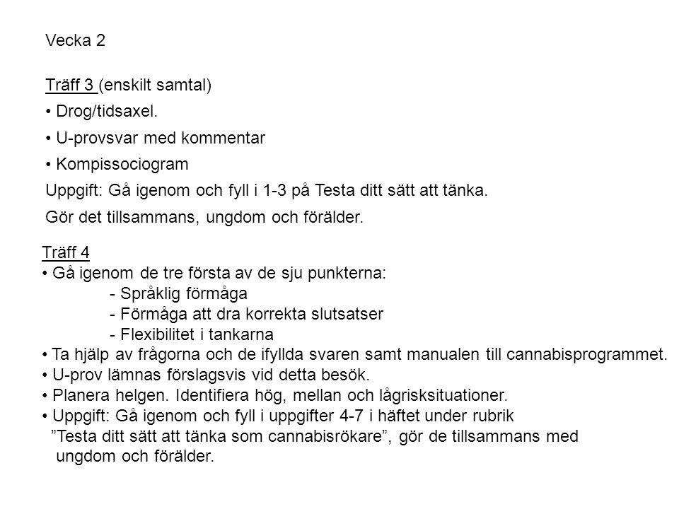 Vecka 2 Träff 3 (enskilt samtal) • Drog/tidsaxel.