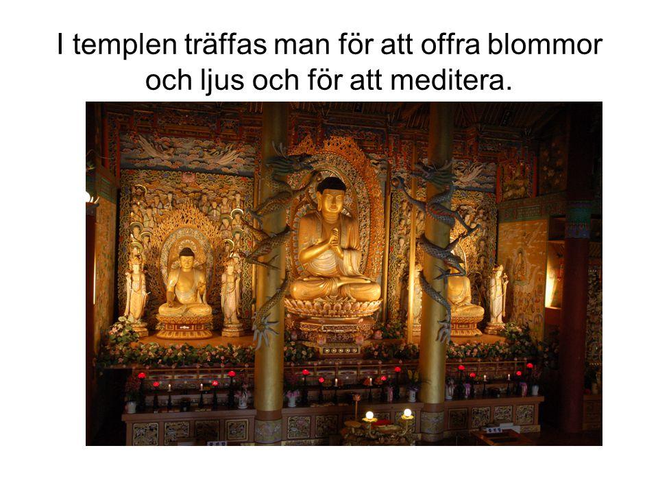 I templen träffas man för att offra blommor och ljus och för att meditera.