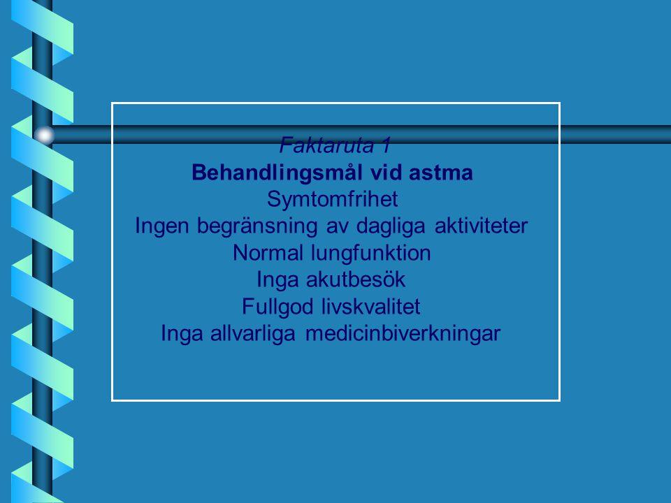 Steg 5, II b Omalizumab: •från 12 år •svår allergisk astma •nedsatt lungfunktion •frekventa symtom dagtid / nattliga uppvakningar •flera svåra dokumenterade astmaexacerbationer trots en daglig hög dos av ICS och LABA •utvärdera efter 4 månader •svenskt register över användare av omalizumab