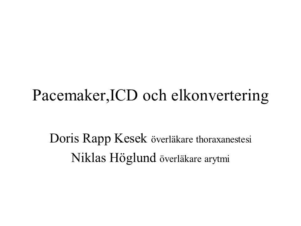 Pacemaker,ICD och elkonvertering Doris Rapp Kesek överläkare thoraxanestesi Niklas Höglund överläkare arytmi