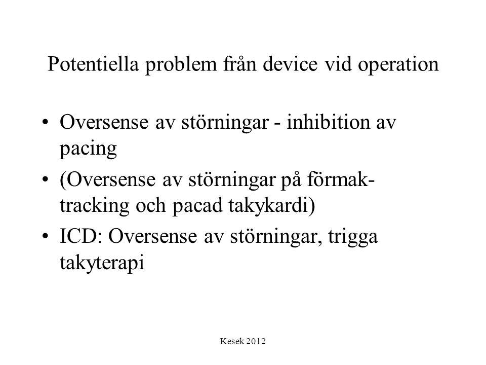 Kesek 2012 Potentiella problem från device vid operation •Oversense av störningar - inhibition av pacing •(Oversense av störningar på förmak- tracking