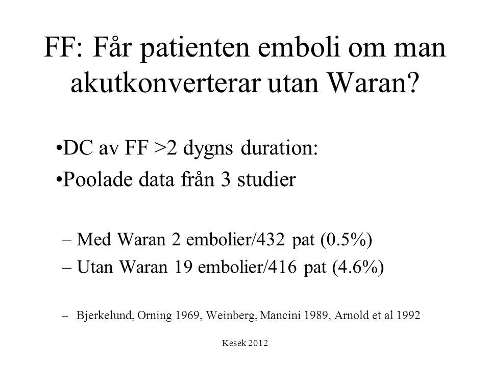 Kesek 2012 FF: Får patienten emboli om man akutkonverterar utan Waran? •DC av FF >2 dygns duration: •Poolade data från 3 studier –Med Waran 2 embolier