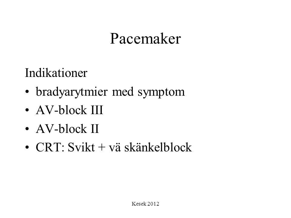 Kesek 2012 Pacemaker Indikationer •bradyarytmier med symptom •AV-block III •AV-block II •CRT: Svikt + vä skänkelblock