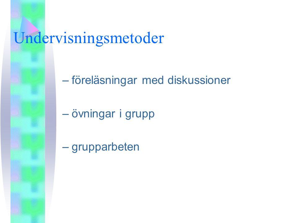 Undervisningsmetoder –föreläsningar med diskussioner –övningar i grupp –grupparbeten
