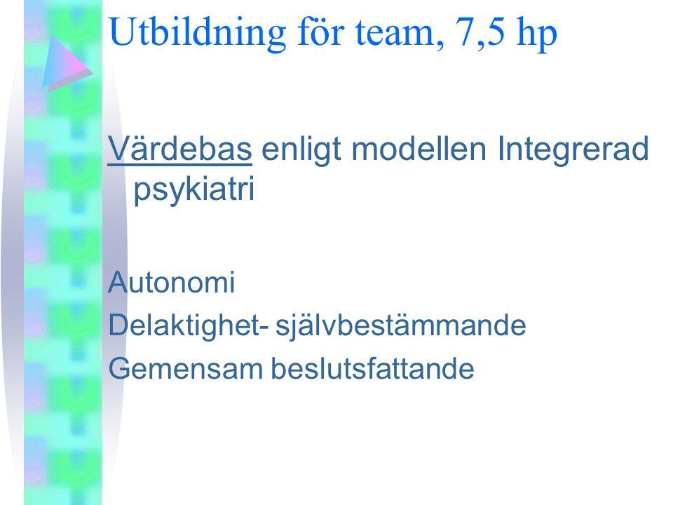 Utbildning för team, 7,5 hp Värdebas enligt modellen Integrerad psykiatri Autonomi Delaktighet- självbestämmande Gemensam beslutsfattande