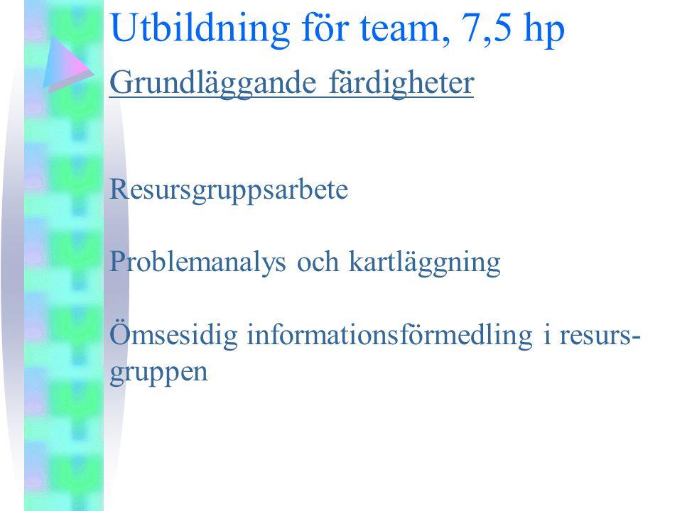 Utbildning för team, 7,5 hp Grundläggande färdigheter Resursgruppsarbete Problemanalys och kartläggning Ömsesidig informationsförmedling i resurs- gruppen