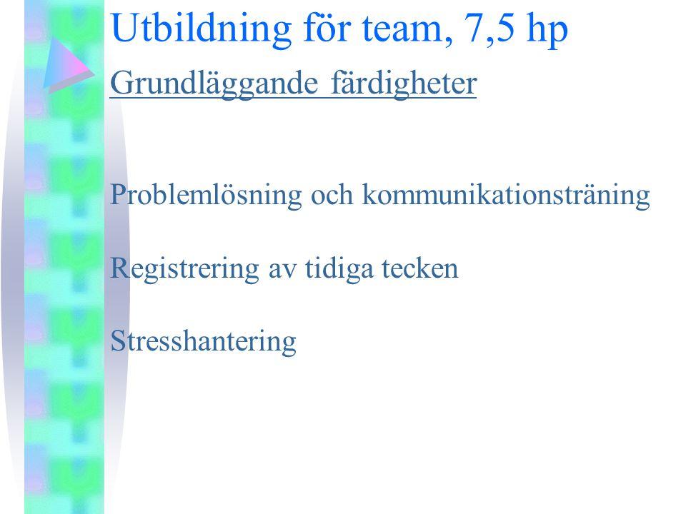Utbildning för team, 7,5 hp Grundläggande färdigheter Problemlösning och kommunikationsträning Registrering av tidiga tecken Stresshantering