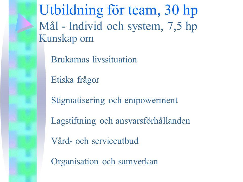 Utbildning för team, 30 hp Mål - Individ och system, 7,5 hp Kunskap om Brukarnas livssituation Etiska frågor Stigmatisering och empowerment Lagstiftning och ansvarsförhållanden Vård- och serviceutbud Organisation och samverkan