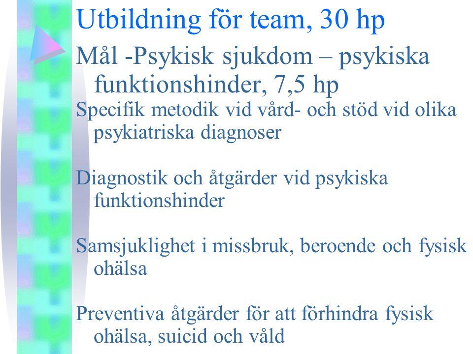Utbildning för team, 30 hp Mål -Psykisk sjukdom – psykiska funktionshinder, 7,5 hp Specifik metodik vid vård- och stöd vid olika psykiatriska diagnoser Diagnostik och åtgärder vid psykiska funktionshinder Samsjuklighet i missbruk, beroende och fysisk ohälsa Preventiva åtgärder för att förhindra fysisk ohälsa, suicid och våld