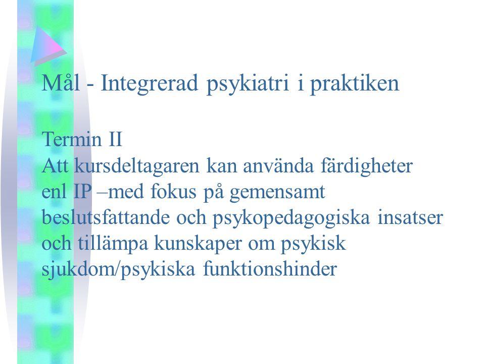 Mål - Integrerad psykiatri i praktiken Termin II Att kursdeltagaren kan använda färdigheter enl IP –med fokus på gemensamt beslutsfattande och psykopedagogiska insatser och tillämpa kunskaper om psykisk sjukdom/psykiska funktionshinder