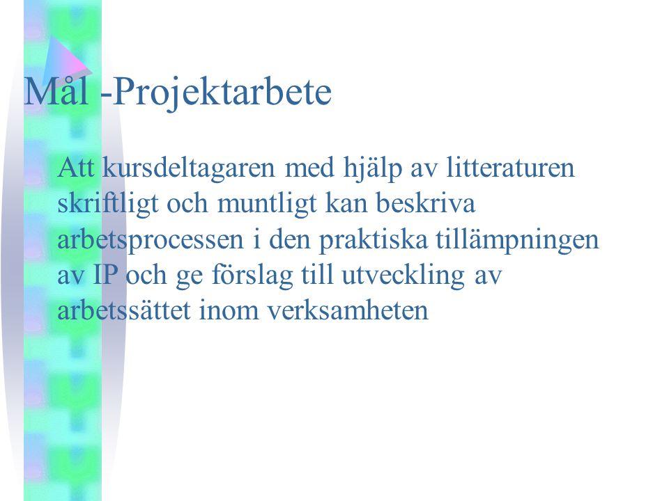 Mål -Projektarbete Att kursdeltagaren med hjälp av litteraturen skriftligt och muntligt kan beskriva arbetsprocessen i den praktiska tillämpningen av IP och ge förslag till utveckling av arbetssättet inom verksamheten