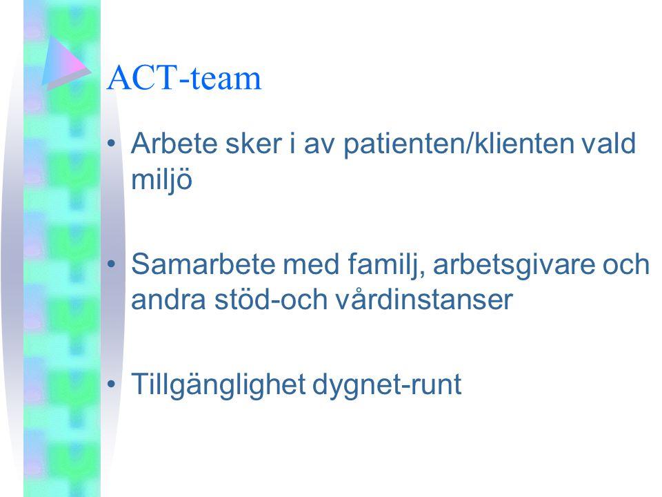ACT-team •Arbete sker i av patienten/klienten vald miljö •Samarbete med familj, arbetsgivare och andra stöd-och vårdinstanser •Tillgänglighet dygnet-runt
