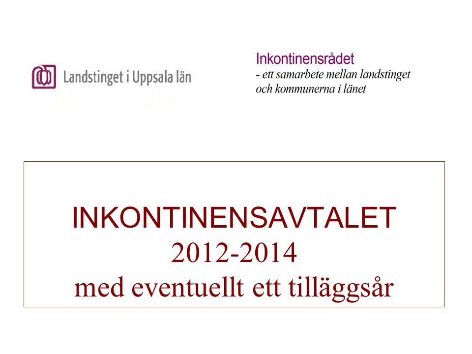 INKONTINENSAVTALET 2012-2014 med eventuellt ett tilläggsår Varuförsörjningen i Uppsala har genom en gemensam upphandling valt sortiment samt distributör för personer i enskilt och särskilt boende i landstingen Dalarna, Västmanland och Uppsala med tillhörande kommuner.