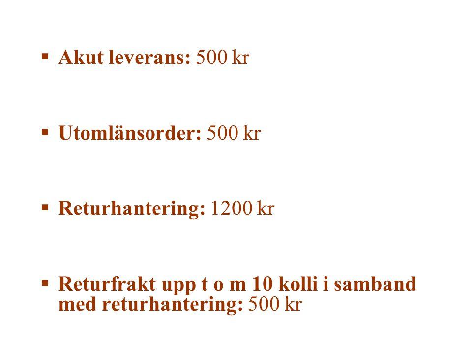  Akut leverans: 500 kr  Utomlänsorder: 500 kr  Returhantering: 1200 kr  Returfrakt upp t o m 10 kolli i samband med returhantering: 500 kr
