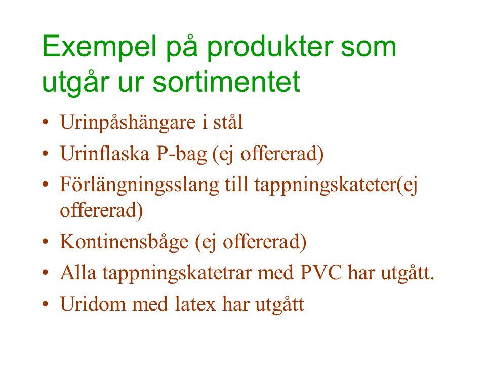 Exempel på produkter som utgår ur sortimentet •Urinpåshängare i stål •Urinflaska P-bag (ej offererad) •Förlängningsslang till tappningskateter(ej offe