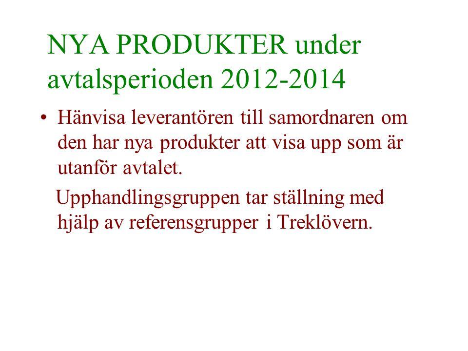 NYA PRODUKTER under avtalsperioden 2012-2014 •Hänvisa leverantören till samordnaren om den har nya produkter att visa upp som är utanför avtalet. Upph