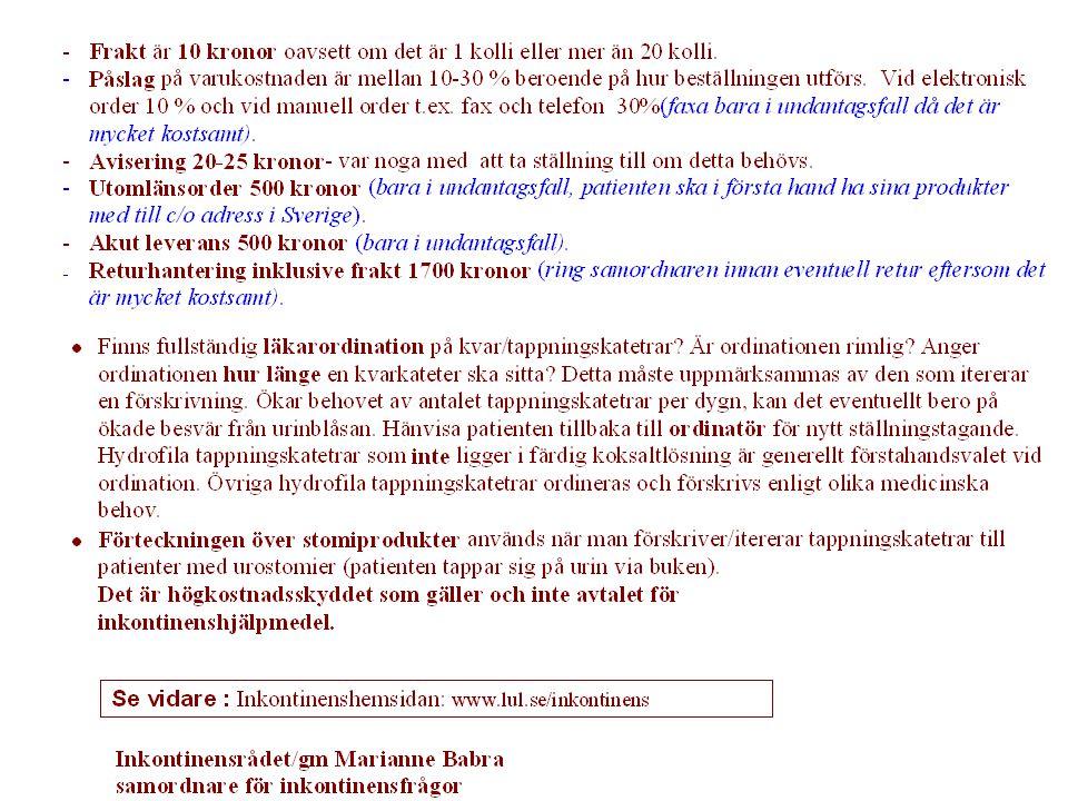 För dig som behöver inkontinenshjälpmedel – nytt sortiment Inkontinenshjälpmedel som förskrivs av landsting, kommuner och privata vårdtagare med avtal i Uppsala län, är kostnadsfria för dig som är vårdmottagare.