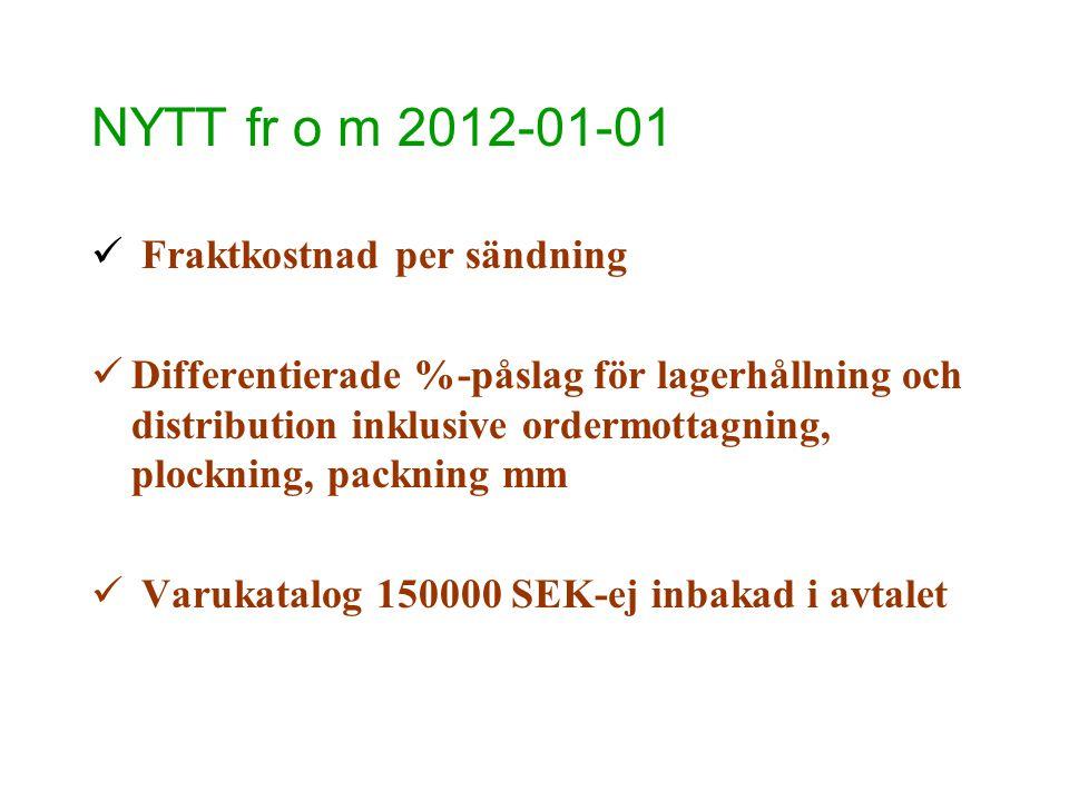 NYTT fr o m 2012-01-01  Fraktkostnad per sändning  Differentierade %-påslag för lagerhållning och distribution inklusive ordermottagning, plockning,