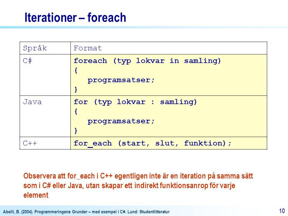 Abelli, B. (2004). Programmeringens Grunder – med exempel i C#. Lund: Studentlitteratur 10 Iterationer – foreach SpråkFormat C#foreach (typ lokvar in