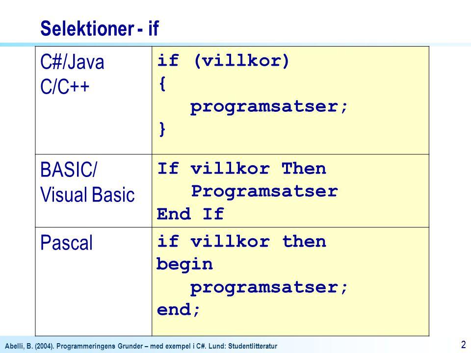 Abelli, B. (2004). Programmeringens Grunder – med exempel i C#. Lund: Studentlitteratur 22 Selektioner - if C#/Java C/C++ if (villkor) { programsatser
