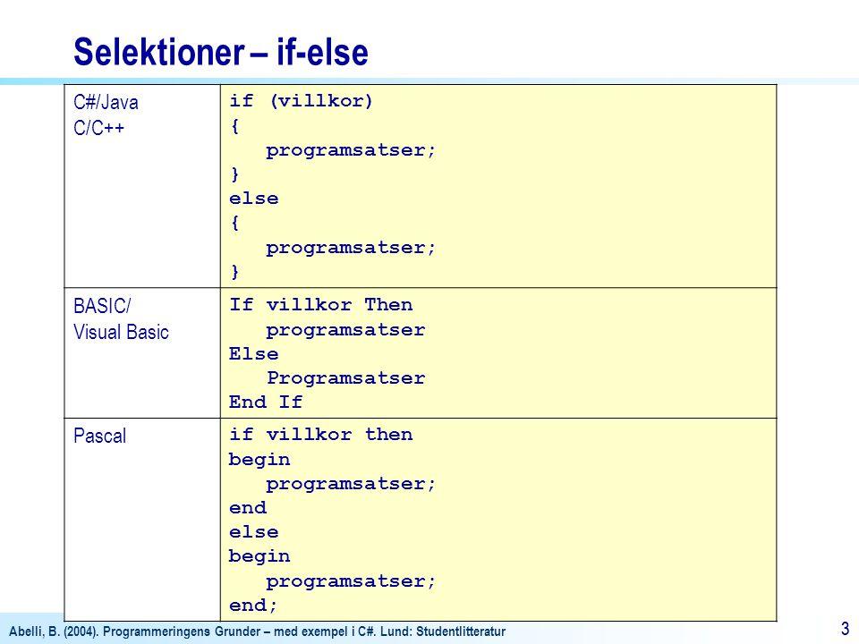 Abelli, B. (2004). Programmeringens Grunder – med exempel i C#. Lund: Studentlitteratur 33 Selektioner – if-else C#/Java C/C++ if (villkor) { programs