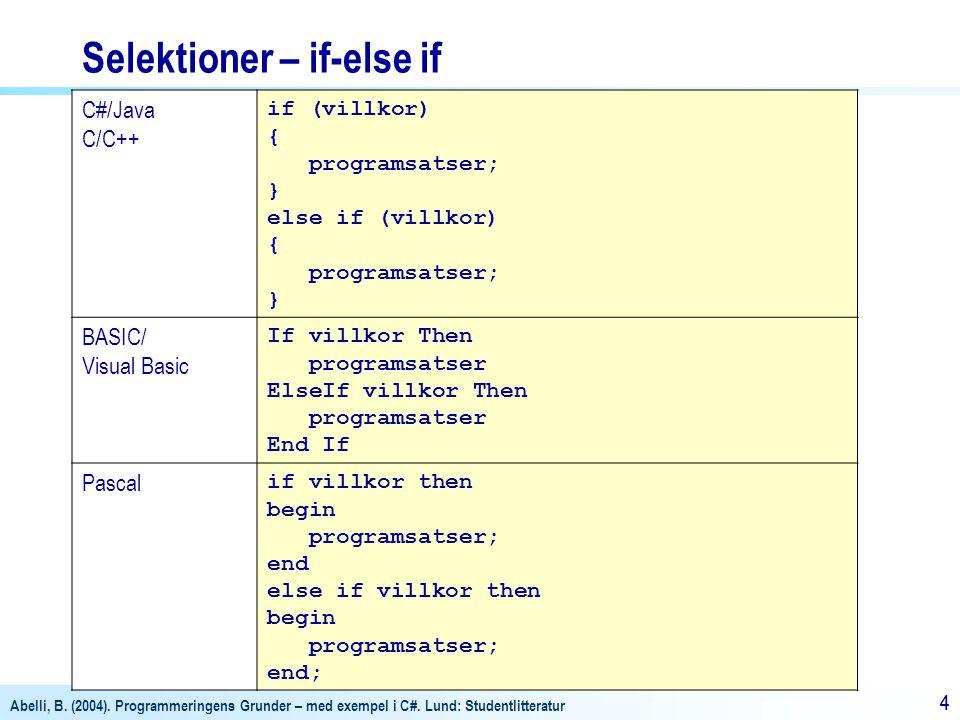 Abelli, B. (2004). Programmeringens Grunder – med exempel i C#. Lund: Studentlitteratur 44 Selektioner – if-else if C#/Java C/C++ if (villkor) { progr