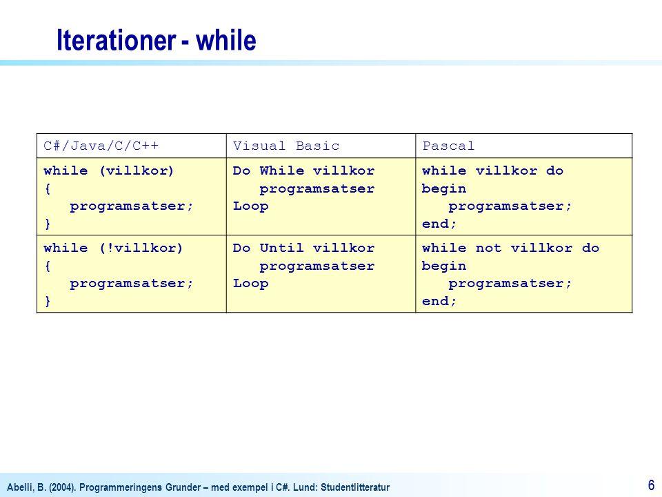 Abelli, B. (2004). Programmeringens Grunder – med exempel i C#. Lund: Studentlitteratur 66 Iterationer - while C#/Java/C/C++Visual BasicPascal while (
