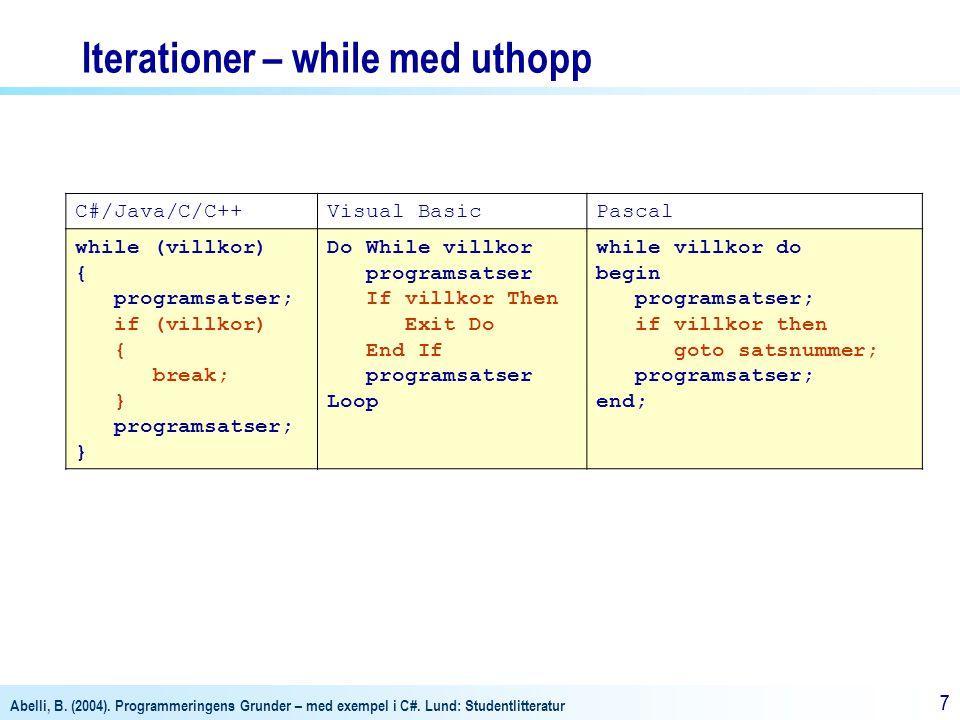 Abelli, B. (2004). Programmeringens Grunder – med exempel i C#. Lund: Studentlitteratur 77 Iterationer – while med uthopp C#/Java/C/C++Visual BasicPas