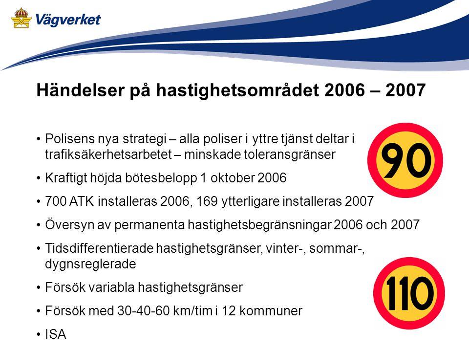 Händelser på hastighetsområdet 2006 – 2007 •Polisens nya strategi – alla poliser i yttre tjänst deltar i trafiksäkerhetsarbetet – minskade toleransgrä