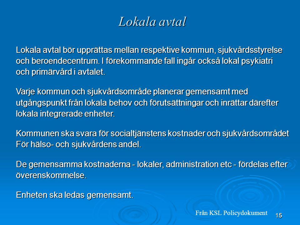 15 Lokala avtal Lokala avtal bör upprättas mellan respektive kommun, sjukvårdsstyrelse och beroendecentrum. I förekommande fall ingår också lokal psyk