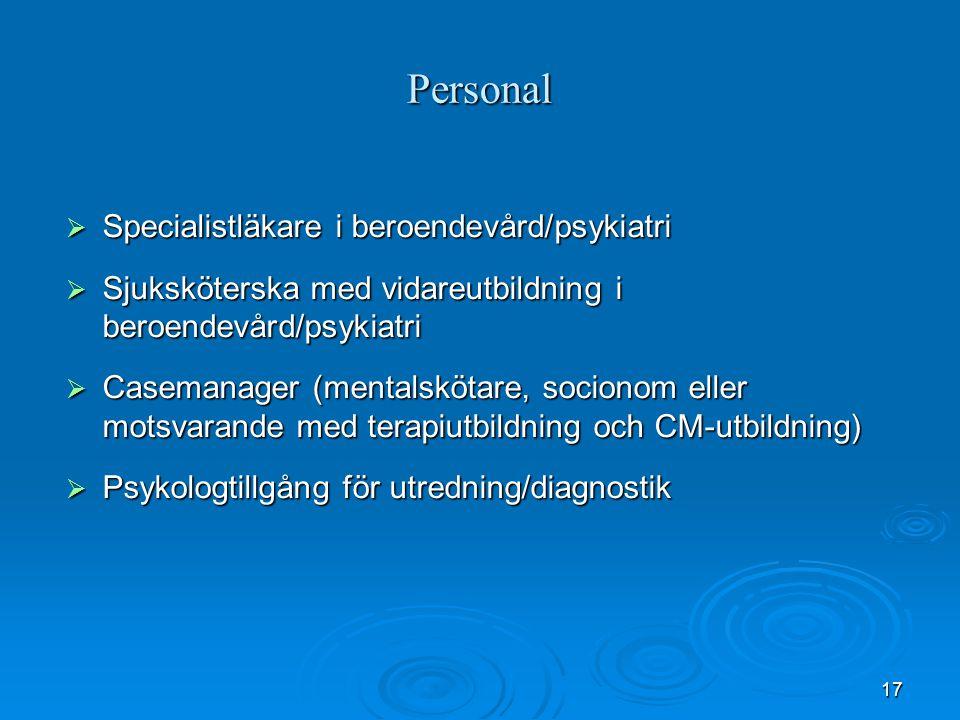 17 Personal  Specialistläkare i beroendevård/psykiatri  Sjuksköterska med vidareutbildning i beroendevård/psykiatri  Casemanager (mentalskötare, so