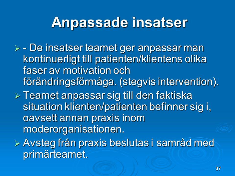Anpassade insatser Anpassade insatser  - De insatser teamet ger anpassar man kontinuerligt till patienten/klientens olika faser av motivation och för