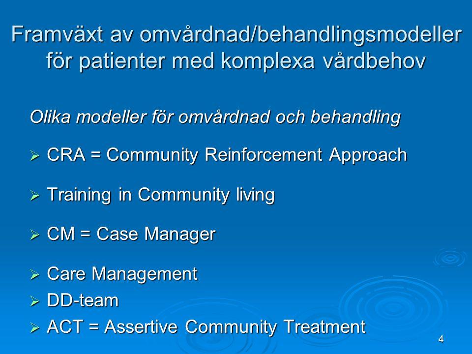 4 Framväxt av omvårdnad/behandlingsmodeller för patienter med komplexa vårdbehov Olika modeller för omvårdnad och behandling  CRA = Community Reinfor