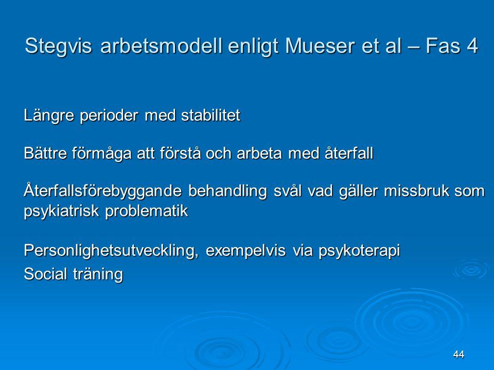 44 Längre perioder med stabilitet Bättre förmåga att förstå och arbeta med återfall Återfallsförebyggande behandling svål vad gäller missbruk som psyk