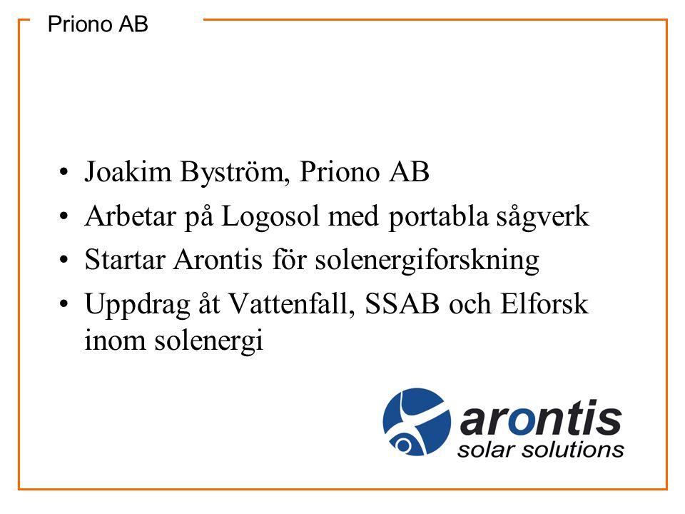 Priono AB •Joakim Byström, Priono AB •Arbetar på Logosol med portabla sågverk •Startar Arontis för solenergiforskning •Uppdrag åt Vattenfall, SSAB och