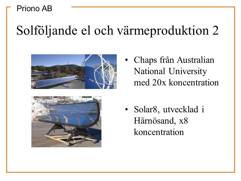 Priono AB Solföljande el och värmeproduktion 2 •Chaps från Australian National University med 20x koncentration •Solar8, utvecklad i Härnösand, x8 kon