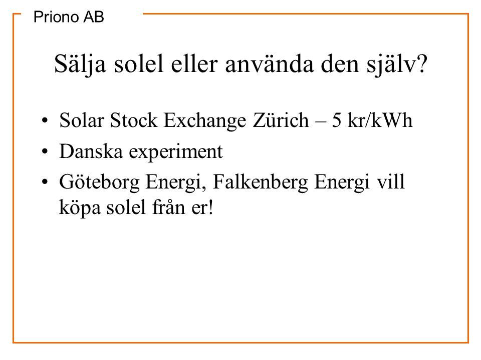 Priono AB Sälja solel eller använda den själv? •Solar Stock Exchange Zürich – 5 kr/kWh •Danska experiment •Göteborg Energi, Falkenberg Energi vill köp
