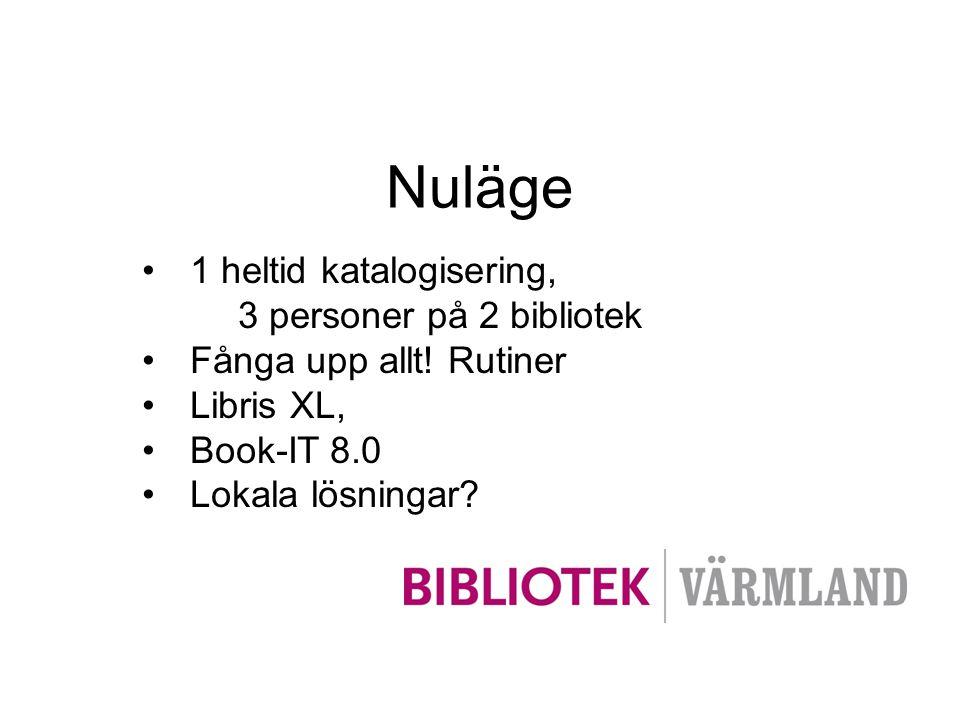 •1 heltid katalogisering, 3 personer på 2 bibliotek •Fånga upp allt! Rutiner •Libris XL, •Book-IT 8.0 •Lokala lösningar?