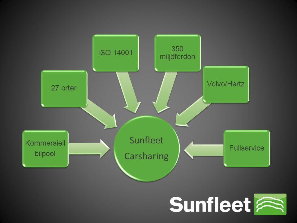 Sunfleet Carsharing Kommersiell bilpool 27 orterISO 14001 350 miljöfordon Volvo/HertzFullservice