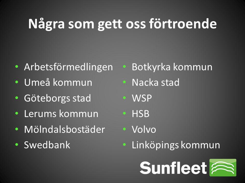 • Arbetsförmedlingen • Umeå kommun • Göteborgs stad • Lerums kommun • Mölndalsbostäder • Swedbank • Botkyrka kommun • Nacka stad • WSP • HSB • Volvo •