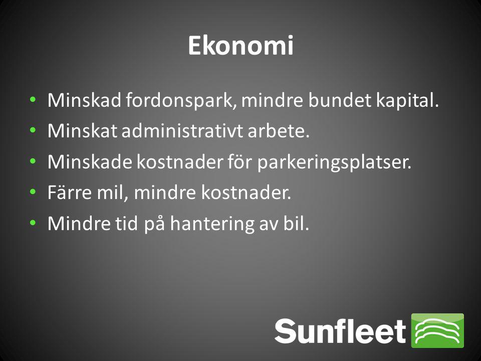 Ekonomi • Minskad fordonspark, mindre bundet kapital. • Minskat administrativt arbete. • Minskade kostnader för parkeringsplatser. • Färre mil, mindre