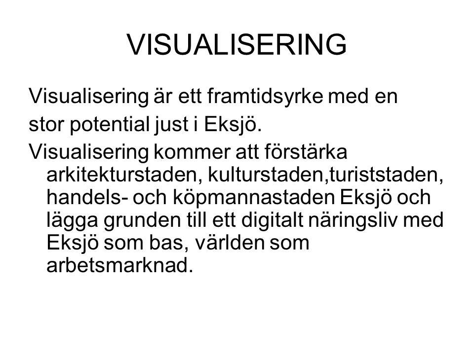 VISUALISERING Visualisering är ett framtidsyrke med en stor potential just i Eksjö. Visualisering kommer att förstärka arkitekturstaden, kulturstaden,