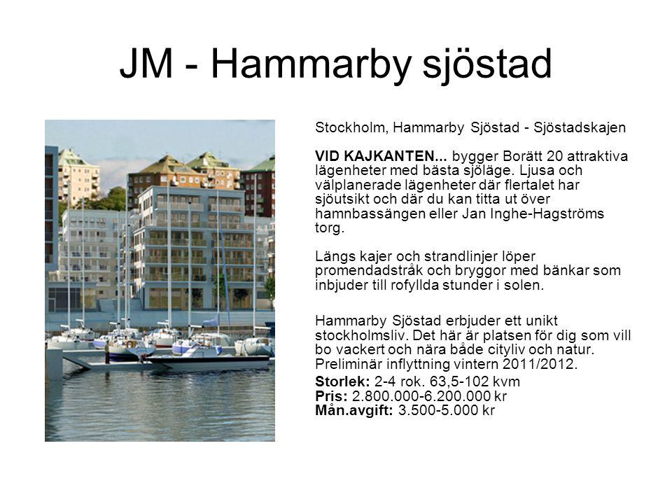 JM - Hammarby sjöstad Stockholm, Hammarby Sjöstad - Sjöstadskajen VID KAJKANTEN... bygger Borätt 20 attraktiva lägenheter med bästa sjöläge. Ljusa och