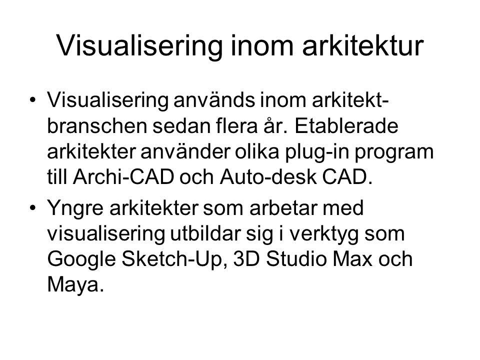 Visualisering inom arkitektur •Visualisering används inom arkitekt- branschen sedan flera år. Etablerade arkitekter använder olika plug-in program til