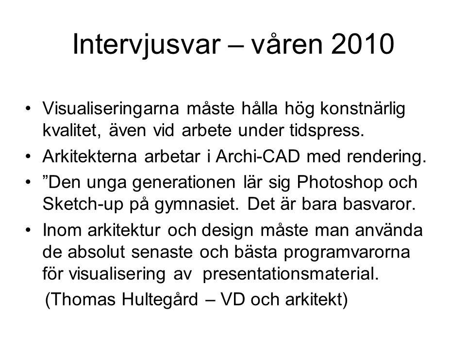 Intervjusvar – våren 2010 •Visualiseringarna måste hålla hög konstnärlig kvalitet, även vid arbete under tidspress. •Arkitekterna arbetar i Archi-CAD