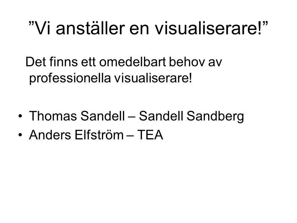 """""""Vi anställer en visualiserare!"""" Det finns ett omedelbart behov av professionella visualiserare! •Thomas Sandell – Sandell Sandberg •Anders Elfström –"""
