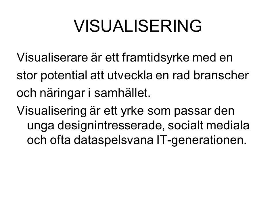 VISUALISERING Visualiserare är ett framtidsyrke med en stor potential att utveckla en rad branscher och näringar i samhället. Visualisering är ett yrk